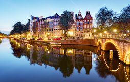 Famous canals of Amsterdam, the Netherlands at duskmous canals o Stock Image