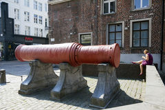 Famous canon called dikke bertha in centre of ghent in belgium Royalty Free Stock Image