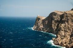 Famous Cap de Formentor, Mallorca island, Spain. Famous Cap de Formentor, cliff on the northern part of Mallorca island, Spain. Big rocky mountains with Royalty Free Stock Photos