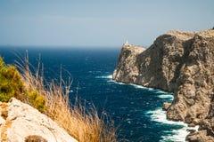 Famous Cap de Formentor, Mallorca island, Spain. Famous Cap de Formentor, cliff on the northern part of Mallorca island, Spain. Big rocky mountains with Royalty Free Stock Photography
