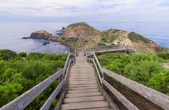 Famous Cape Schanck boardwalk. Boardwalk running down to the sea at Cape Schanck in Mornington peninsula Royalty Free Stock Image