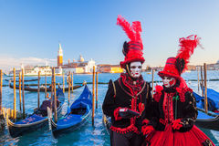Famous carnival with beautiful masks in Venice, Italy Stock Image