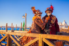 Famous carnival with beautiful masks in Venice, Italy Stock Photos