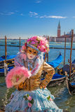 Famous carnival with beautiful masks in Venice, Italy Stock Photography