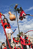 Famous Carnival of Nice, Flowers` battle. A large float with young students in gastronomy stock photography