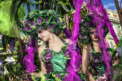 Famous Carnival of Nice, Flowers` battle. This is the main winter event of the Riviera. NICE - FRANCE: Carnival of Nice, Flowers` battle. This is the main winter Royalty Free Stock Photography