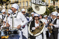 Famous Carnival of Nice, Flowers` battle. Musicians in Big Parade Stock Photography