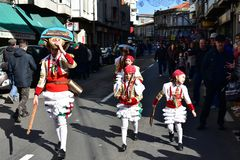 Famous Carnival and street parade at Verin with cigarrons costumes. Ourense Province, Galicia, Spain. 24 Feb 2019. stock photo