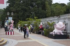 Hong Kong cartoon characters in Kowloon Park. Famous cartoon figures were displayed at the entrance of Kowloon Park, Hong Kong. Dindong stock image