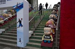 Hong Kong cartoon characters in Kowloon Park. Famous cartoon figures were displayed at the entrance of Kowloon Park, Hong Kong Stock Photography