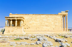Famous caryatids at Temple of Erechtheum in Acropolis Royalty Free Stock Photography