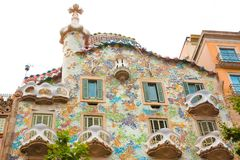 Famous Casa Batllo in Barcelona. Barcelona, Catalonia, Spain - JUNE, 2016. View on famous house Casa Batllo in Barcelona, built in 1877 and rebuilt by the Royalty Free Stock Photography
