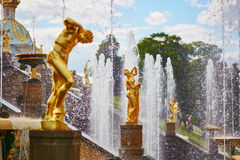 Cascade of fountains in Peterhof, Russia Royalty Free Stock Photography