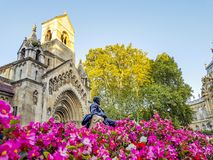 Famous castle in Budapest - Vajdahunyad with lion monument in fr Royalty Free Stock Photography