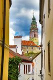 Castle and historic architectures in Krumlov. Famous castle in Cesky Krumlov with historic architectures Stock Images