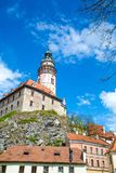 Castle and historic architectures in Krumlov. Famous castle in Cesky Krumlov with historic architectures Royalty Free Stock Photo