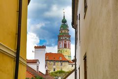 Castle and historic architectures in Krumlov. Famous castle in Cesky Krumlov with historic architectures royalty free stock photos