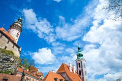 Castle and historic architectures in Krumlov. Famous castle in Cesky Krumlov with historic architectures stock photo