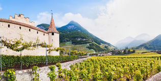 Famous castle Chateau d`Aigle in canton Vaud, Switzerland Royalty Free Stock Photography