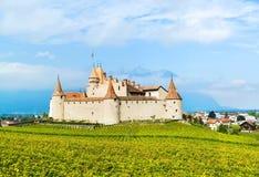 Famous castle Chateau d`Aigle in canton Vaud, Switzerland stock photo