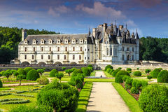 Famous castle of Chenonceau,Loire Valley,France,Europe. Stunning ornamental garden of Chenonceau castle in the Loire Valley,France,Europe royalty free stock photo