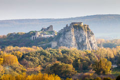 Famous castle Devin near Bratislava, Slovakia. Famous historical castle Devin is located at the confluence of rivers Danube and Morava near Bratislava - capital royalty free stock image