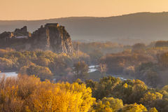 Famous castle Devin in Slovakia. Famous historical castle Devin is located at the confluence of rivers Danube and Morava near Bratislava - capital city of royalty free stock photos