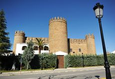 Castle of the Dukes of Feria, Zafra, province of Badajoz, Spain. The famous Castle of the Dukes of Feria is now a luxury hotel National Parador in Zafra, town of royalty free stock image