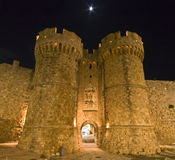 Famous castle of Rhodes in Greece Stock Photography