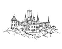 Famous Castle in Saxony, Germany. German landmark castle building. Famous Castle view in Saxony, Germany. Castle building landscape. Hand drawn sketch landscape Royalty Free Stock Image