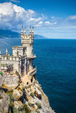The famous castle Swallow's Nest on the rock in Crimea. CRIMEA - MAY 18, 2016: The famous castle Swallow's Nest on the rock in the Black Sea. This castle is a stock image