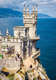 The famous castle Swallow's Nest on the rock in Crimea. CRIMEA - MAY 18, 2016: The famous castle Swallow's Nest on the rock in the Black Sea. This castle is a royalty free stock photography