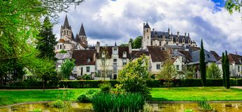 Famous castles of Loire valley - royal residence Loches. France Stock Image