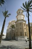 Famous cathedral in Cadiz. Side view Stock Photos