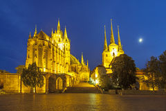 Famous Cathedral of Erfurt in the evening Stock Photos