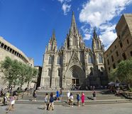 Famous cathedral is located in the gothic quarter during a sunny day. BARCELONA, SPAIN - JUNE 29th, 2017: famous cathedral is located in the gothic quarter Stock Image