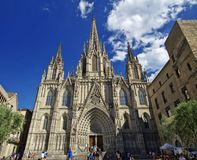 Famous cathedral is located in the gothic quarter during a sunny day. BARCELONA, SPAIN - JUNE 29th, 2017: famous cathedral is located in the gothic quarter Stock Photo