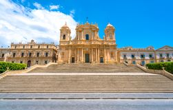 The famous Cathedral of Noto Basilica Minore of San Nicolò on a sunny summer day. Province of Siracusa, Sicily, Italy. Noto is a city and comune in the stock photos
