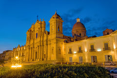 The famous cathedral of Noto in Sicily at night Royalty Free Stock Images