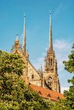 Famous Cathedral of St. Peter and Paul in Brno, Moravia, yellow. Famous Cathedral of St. Peter and Paul in Brno, Moravia, Czech republic. Religious architecture Royalty Free Stock Photography