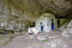 The famous cave church on Mt. Olympus, Greece Stock Photos