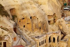 Famous cave hotels in Goreme, Capadokkia Royalty Free Stock Photos