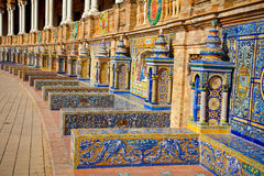 Famous ceramic benches in Plaza de Espana, Seville, Spain. Stock Image