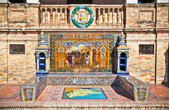 Famous ceramic benches in Plaza de Espana, Seville, Spain. Royalty Free Stock Images