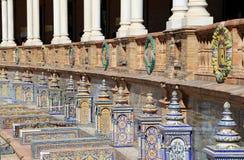 Famous ceramic decoration in Plaza de Espana, Sevilla, Spain. Old landmark Stock Photos
