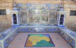 Famous ceramic decoration in Plaza de Espana, Sevilla, Spain. Old landmark Stock Image