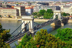 Famous Chain Bridge in Budapest, Hungary Royalty Free Stock Photo