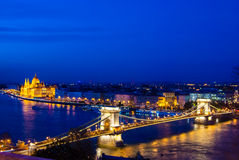 The famous chain bridge in Budapest Royalty Free Stock Photography