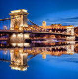 Famous Chain Bridge in Budapest, Hungary Stock Photos