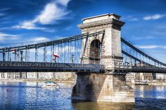 Famous Chain Bridge in Budapest, Hungary. View of Chain Bridge in Budapest, capital city of Hungary Royalty Free Stock Photography